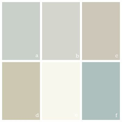 color scheme for our house a. Benjamin Morre Quiet Moments  (Glidden Gentle Tide is discontinued, but Quiet Momements is a close match) b. Benjamin Moore Gray Owl c. Benjamin Moore Revere Pewter d. Benjamin Moore Camouflage  e. Benjamin Moore Simple White f. Benjamin Moore Wedgewood Gray by evangelina
