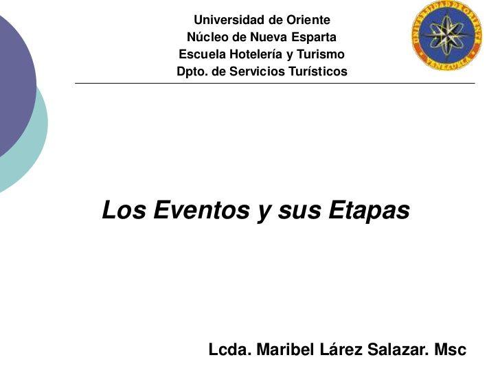 Universidad de OrienteNúcleo de Nueva EspartaEscuela Hotelería y TurismoDpto. de Servicios Turísticos