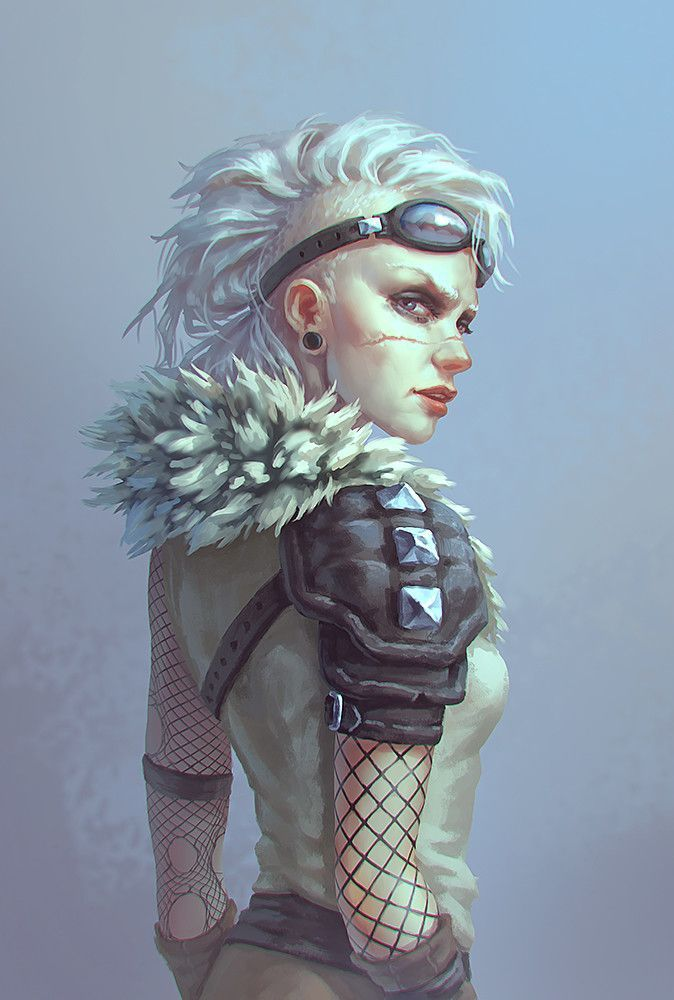 Post apocalyptic girl | post apocalypse art, character design, outfit | white hair, Mohawk | female style, cyber punk, wasteland