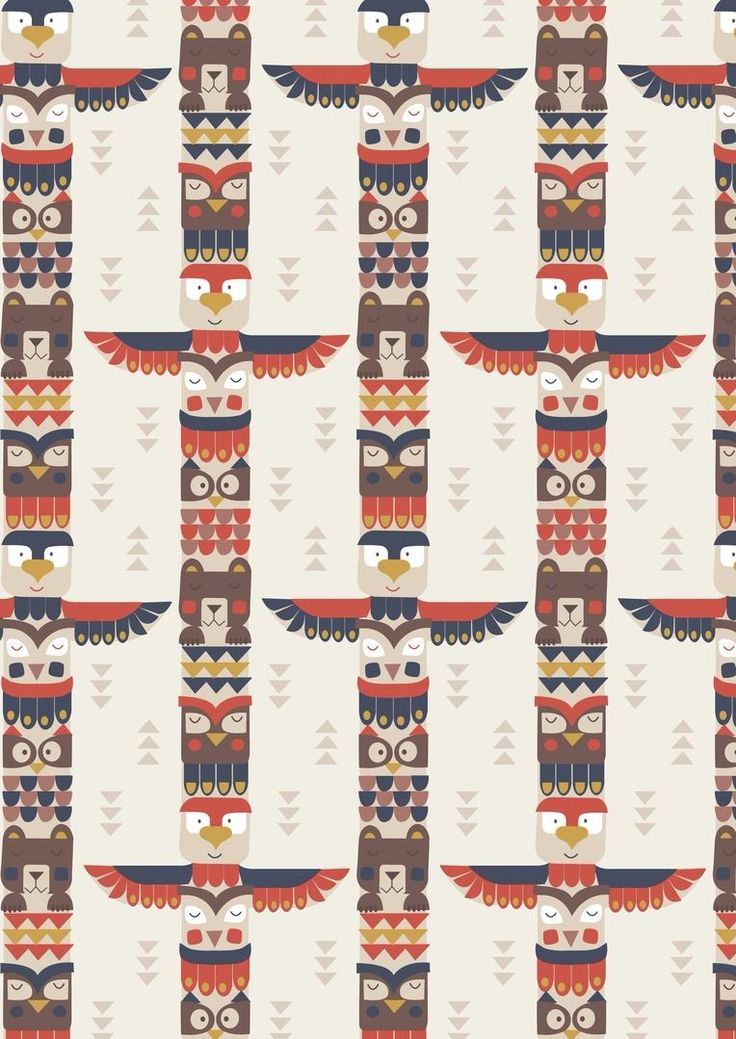 Big Bear Little Bear A105.2 - Bear & friends totem on cream from Lewis & Irene // Juberry Fabrics