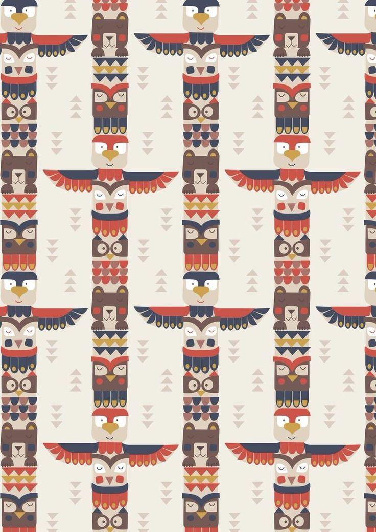 Big Bear Little Bear A105.2 - Bear & friends totem on cream from Lewis & Irene // Juberry Fabrics