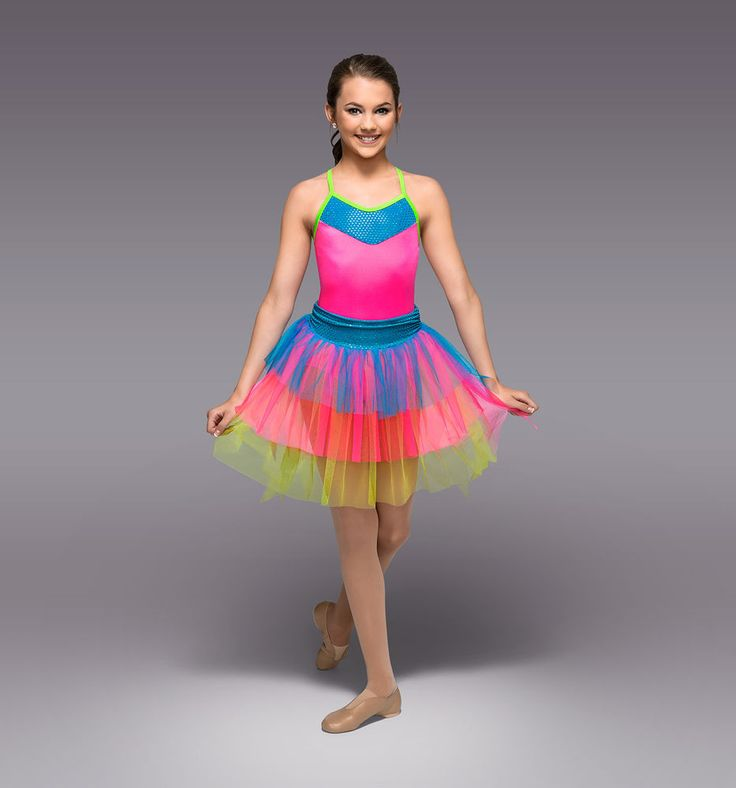 Theatricals Neon Rainbow Bright Costume Leotard Tutu Skirt Girls XXL 16 Youth