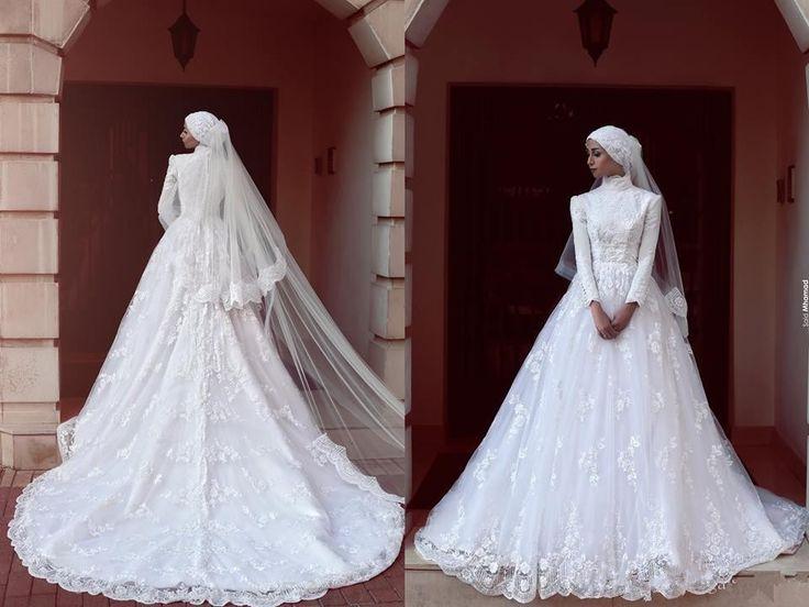 White vestido de noiva A Line Full Sleeve Lace HIgh neck Muslim Nigerian Halloween 2017 Wedding Dress - http://www.onestopweddingstore.com/products/white-vestido-de-noiva-a-line-full-sleeve-lace-high-neck-muslim-nigerian-halloween-2017-wedding-dress/