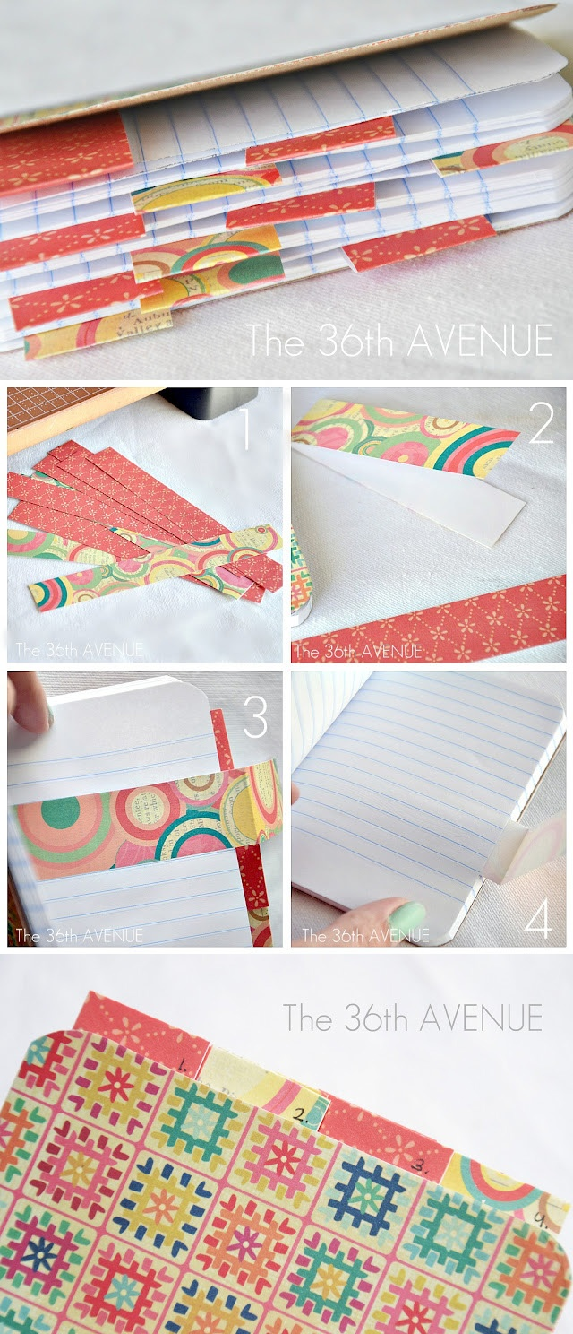 PAPER CRAFTS :: Make a Notebook Tutorial :: RESTYLE a composition notebook by adding some pretty scrapbook paper on the cover & adding tabs for either the months of the year or blank, to be labeled at a future date. | #the36thavenue