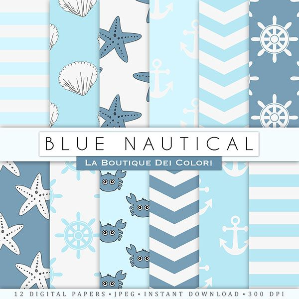 Baby Blue Nautical Digital Papers