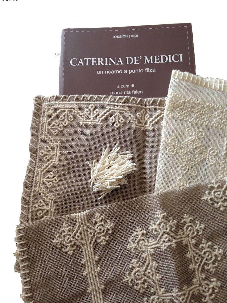 Nappine work in progress ricamo punto Caterina De Medici.