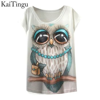 2015 New Fashion Vintage Spring Summer T Shirt Women Clothing Tops Animal Owl Print T-shirt Printed White Woman Clothes