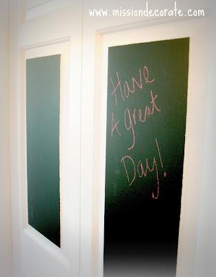 Mission Decorate: bi-fold pantry doors + chalkboard paint ...