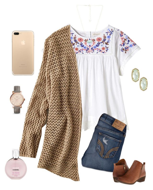 """""""My birthday is in 5 Days!!"""" by lizakappil on Polyvore featuring Rebecca Taylor, American Eagle Outfitters, Hollister Co., Lucky Brand, FOSSIL, Kendra Scott and Chanel"""