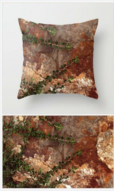 Nature Pillow Cover Includes Pillow Insert - Rocks and Leaves Photo - Nature Lover - Sofa Pillow - Bed Pillow - Made to Order
