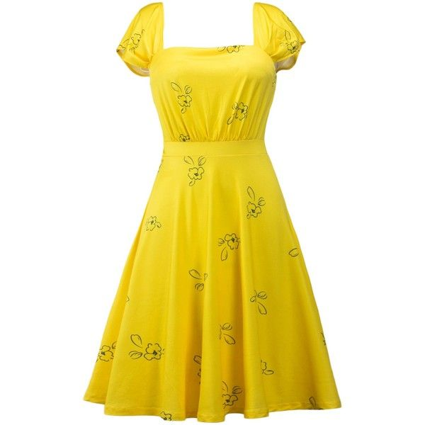 Printed Square Neck High Waist Dress ($16) ❤ liked on Polyvore featuring dresses, la la land, square neck dress, yellow dress, square neckline dress and waist dress