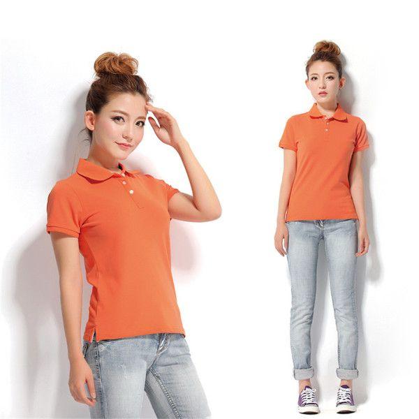 2016 лето сплошной цвет футболки Тонкий дамы короткий рукав рубашки поло спортивного отдыха Комбинезон классический базовый рубашку