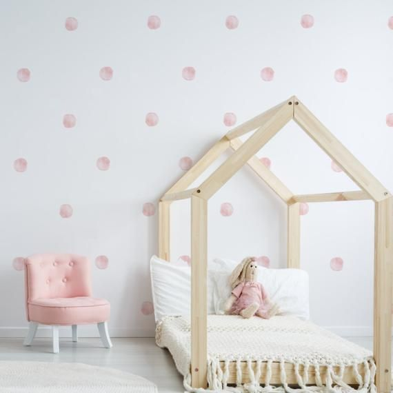 Watercolor Dots Fabric Wall Decal Nursery Wall Decor Hand