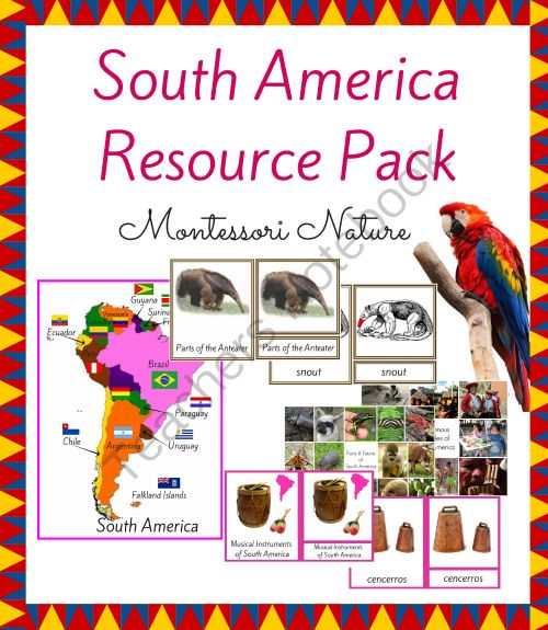 South America Resource Pack for The Montessori Classroom 3-Part Cards from Montessori and Educational Printable Activities  on TeachersNotebook.com -  - South America Geography Montessori Flags Multicultural Culture Musical Instruments Continents Printables Resources