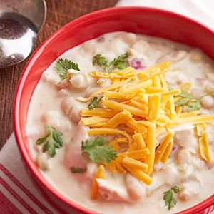 This slow cooked stew recipe is similar to a Southwestern white chili. The refrigerated Alfredo sauce gives it a creamy texture.