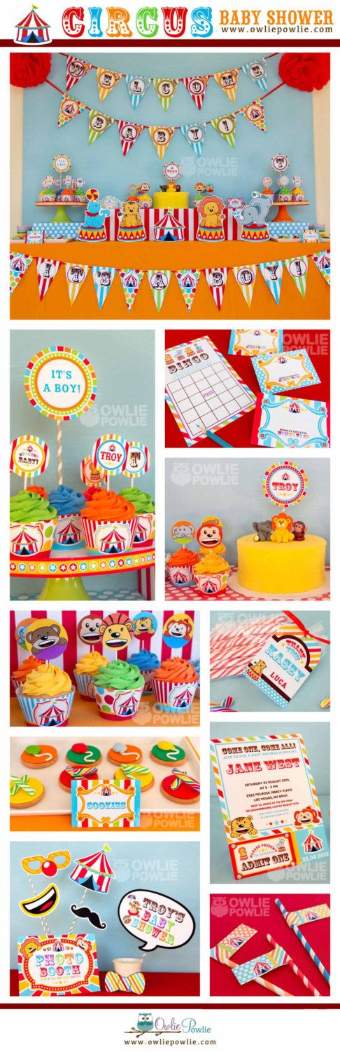 This printable baby shower package is sooo cute!  Vintage Circus BABY Shower Party Printable Package & Invitation, INSTANT DOWNLOAD  CIRCUS CARNIVAL BABY SHOWER DIY Party Printable Package & Invitation  #babyshowergames #babyshowerdecorations #afflink #babyshowerideas #babyshowerinvitations