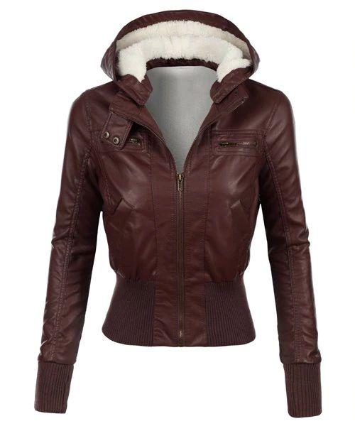 [81% OFF] Stilvolle Kapuze Langarm Abnehmen Kunstleder Damenjacke | …   – Rosegal Products