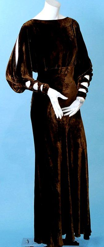 I want this - love the brown velvet and the sleeve treatments - form the 1930's