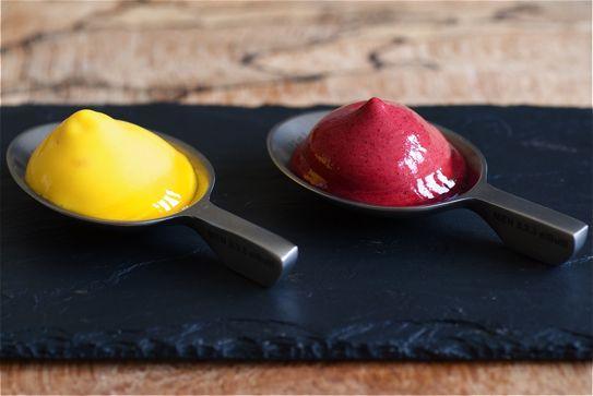 Mango & Blackcurrant Espuma recipe and food photography by Madalene Bonvini-Hamel Food Fanatic and chef From the British Larder – The British Larder