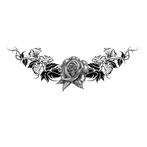 Download Free Black and Gray Lowerback Rose Tattoo Design TattooWoo.com to use and take to your artist.