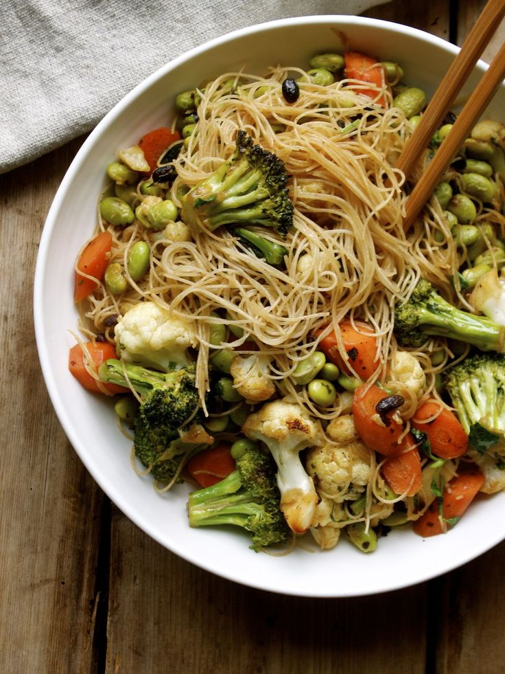 Brown Rice Vermicelli and Vegetables. Probably change the sauce but otherwise I'd give it a shot