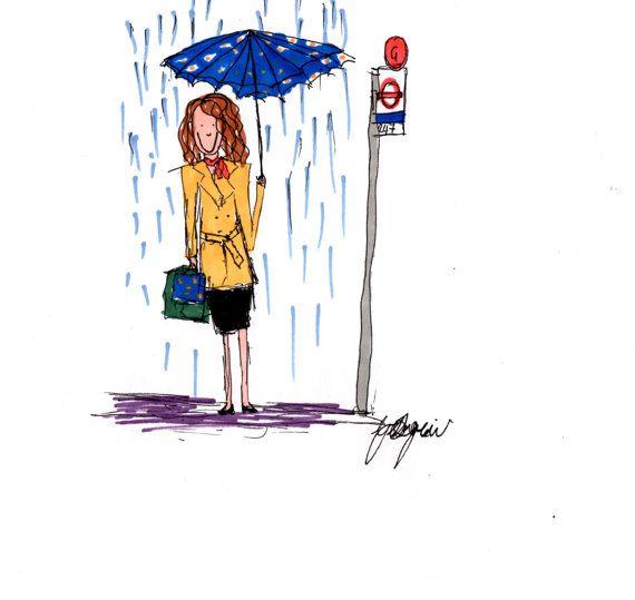 Jeune fille de Londres, attendant le bus sous la pluie de travail dessin-imprimé sur papier de haute qualité (160GSM) Pour créer la pièce revêtements plus fines et des marqueurs ont été utilisés.
