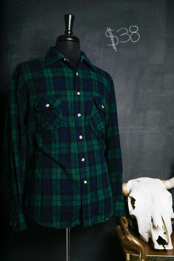 Mens Vintage Wool Flannel Navy