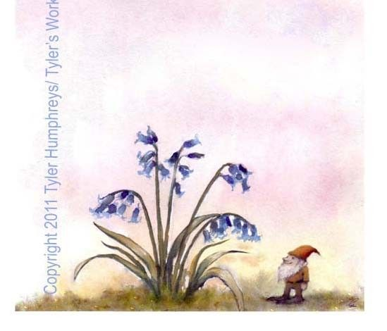 funny gnome card gnome greeting card art bluebells flowers garden watercolor painting illustration print bluebells are ringing