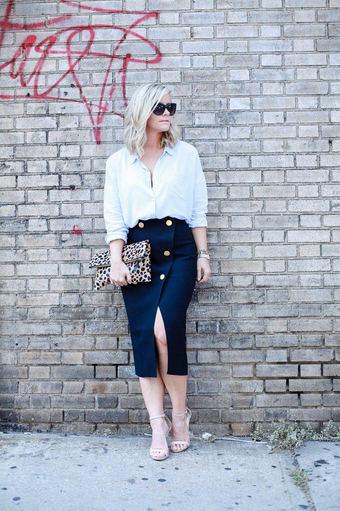 Afternoon-Espresso Blogger, Ashley Pletcher, finishes up New York Fashion Week wearing an Asos Wrap Skirt with a Claire V. Clutch and Open Toe Pumps