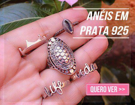 Semi Jóias Anéis da Moda Prata 950 Prata 925 Sweet Lucy
