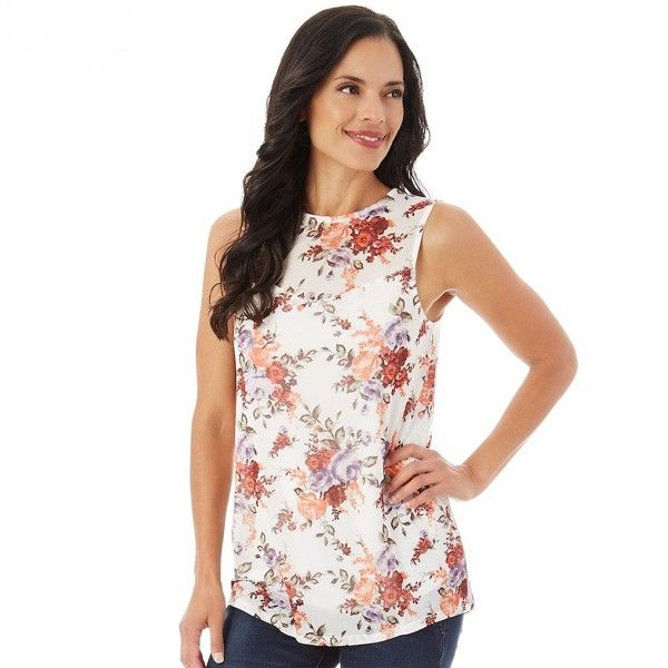 Women's Apt. 9® Printed Mesh Tank (€20) ❤ liked on Polyvore featuring tops, white floral, floral print tops, white mesh tank top, white floral top, floral mesh top and white mesh tank