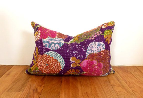 Purple Lumbar Pillow // Rectangle Oblong Throw by LiveLoveSmile, €15.00