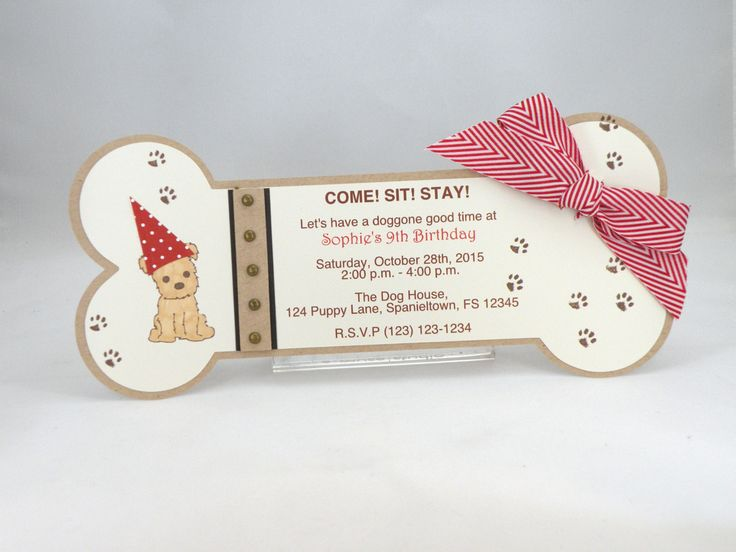 10 Puppy Party Bone Shaped Invitations with by APaperParadise