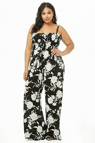 Plus Size Floral Wide-Leg Jumpsuit | Products in 2019 | Plus ...