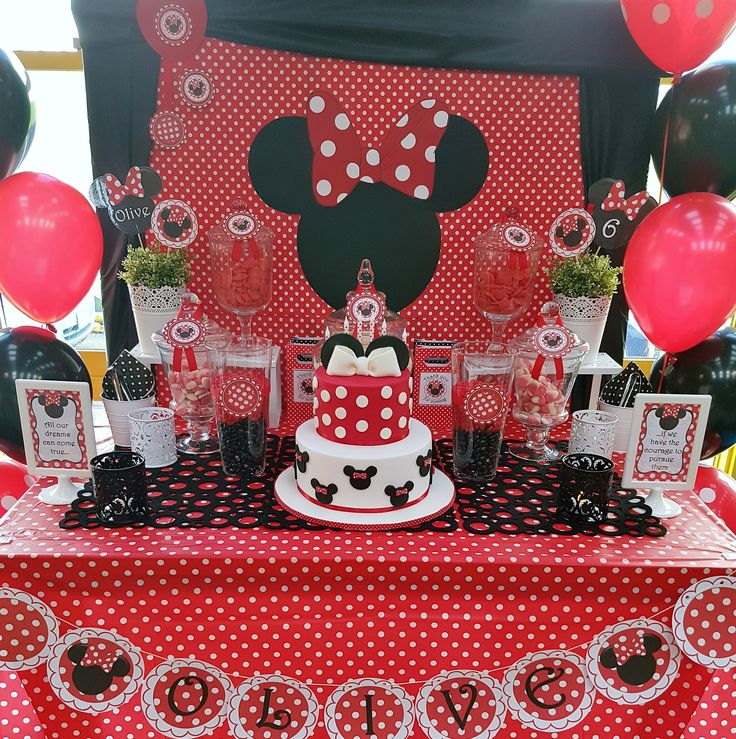 Red Minnie Mouse party candy buffet by #easybreezyparties, Melbourne, Australia. View the full album at https://www.facebook.com/easybreezyparties/photos/?tab=album&album_id=602894663212416 #minniemouseparty