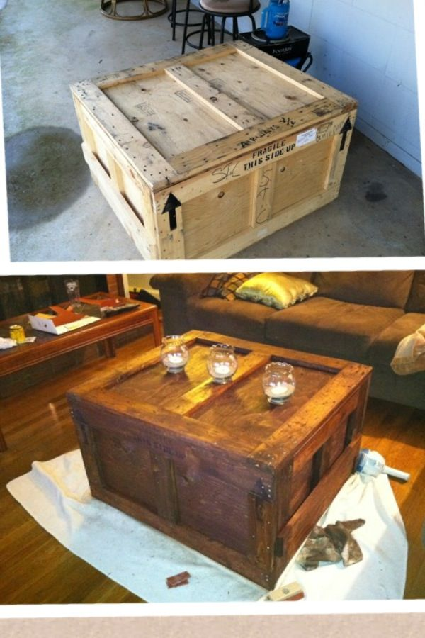 An old shipping crate...turned into a coffee table!: Upcycled Coff Tables, Repurpo Crates, Ships Crates Turning, Coffee Tables, Decor Ideas, Ships Crates Furniture, Ships Crateturn, Craftn Ideas, Great Ideas