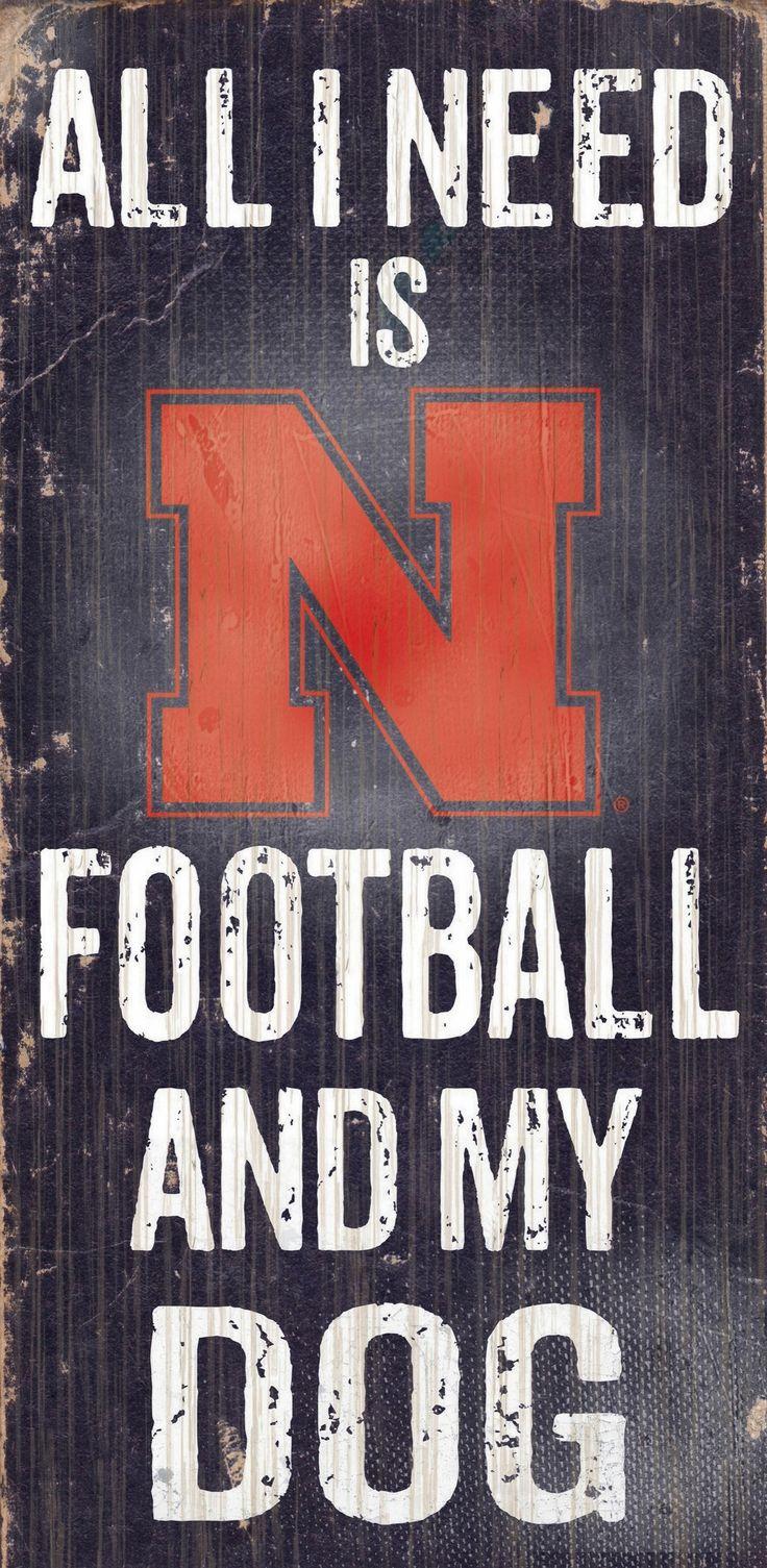 Nebraska Cornhuskers Wood Sign - Football and Dog 6x12