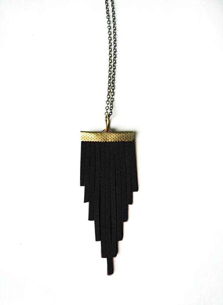 Sautoir Triangle daim noir & bronze : Collier par elide