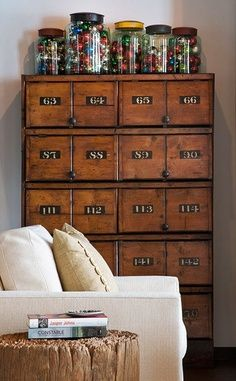 Card catalog, old marbles in the jars....love.