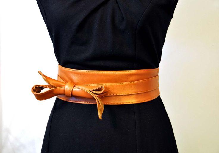Ceinture large obi/ à nouer CUIR CAMEL : Ceinture par la-fille-a-la-ceinture