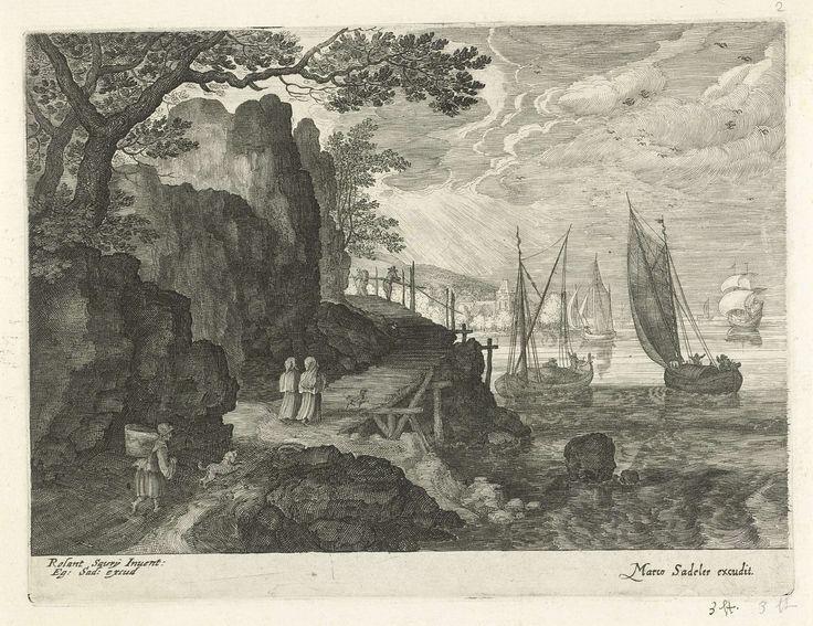 Gezicht op een haven, Aegidius Sadeler, 1580 - ca. 1629