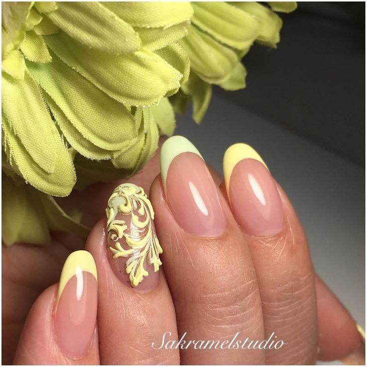 Укрепление натуральных ногтей гелем + объемный дизайн #нейлкруст 🌿💛💚 .За счёт такого укрепления возможно отрастить свои длинные ногти  и на целый месяц забыть о коррекции. 👍🏼
