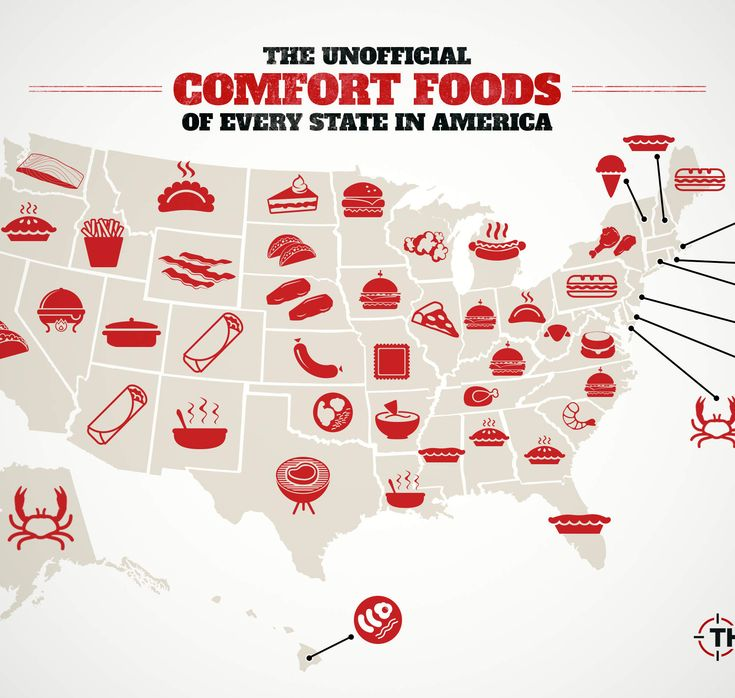 The Unofficial Comfort Foods Of Every State In America Usa Mapsstates