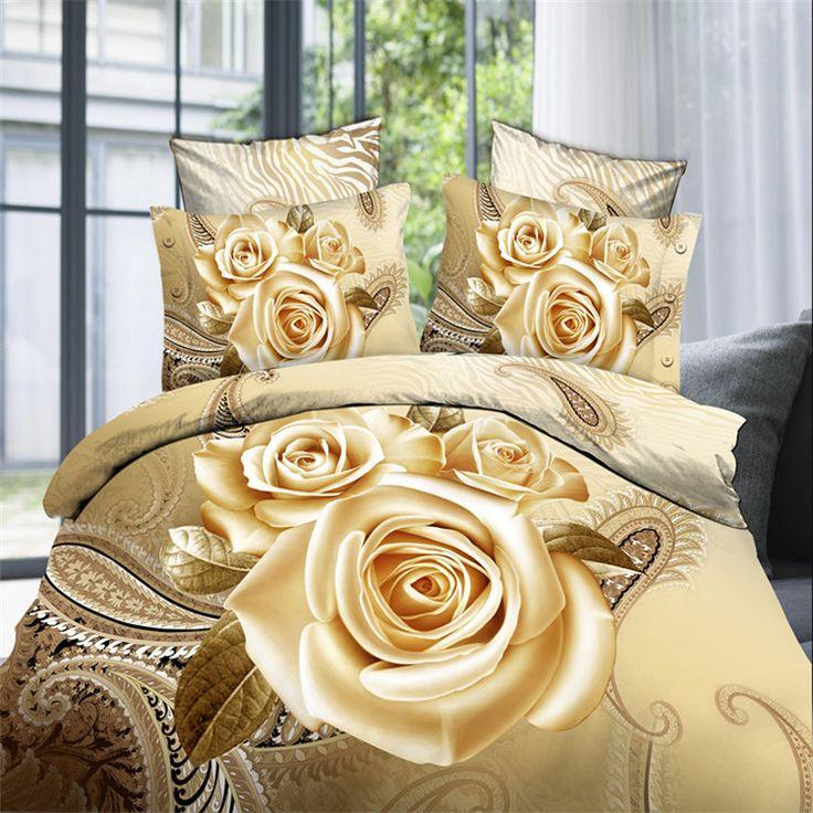 4Pcs Luxury Beige/Red Rose Designer 3D Bedding set Queen size For Kids Girls Duvet Cover Set Bed linen Pillow case //Price: $50.52 & FREE Shipping //     #bedding sets