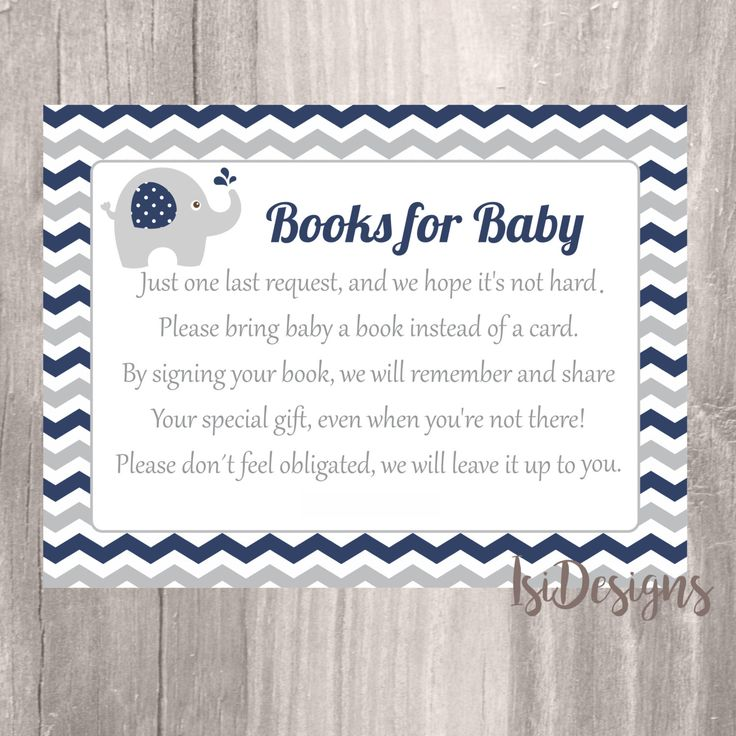 Baby Shower Book Request Card, Printable Navy and Grey Elephant Books for Baby, Instant Download, Elephant Baby Shower Book Invite Insert by IsiDesigns on Etsy