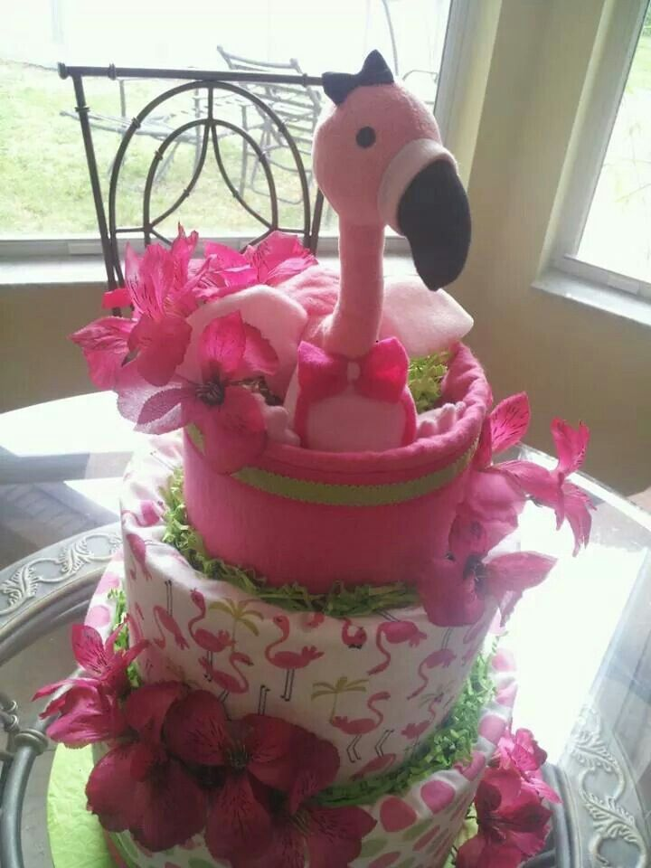 baby flamingo diaper cake by nina