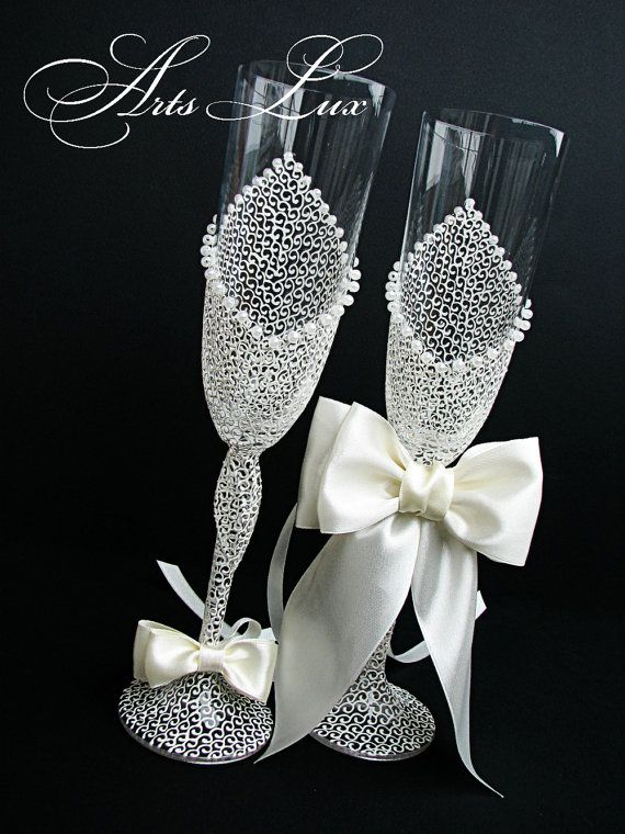 Ivory Charming Wedding champagne glasses by ArtsLux on Etsy, $52.00