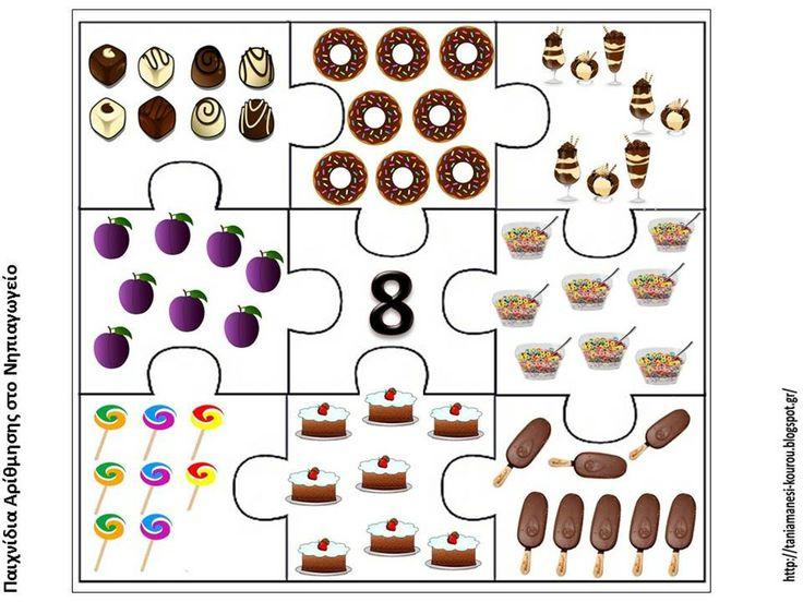 Puzzelen met hoeveelheden voedsel. De kinderen leren het aantal objecten te herkennen. Voorbereiding op het rekenen. Puzzel van het getal 8.