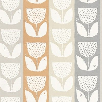 Evie Mango (1630/402) - Prestigious Wallpapers - An all over wallpaper design which features a paint effect printing of a flower motif. Shown here in the mango colourway. Other colourways are available. Please request a sample for a true colour match. Paste-the-wall product.