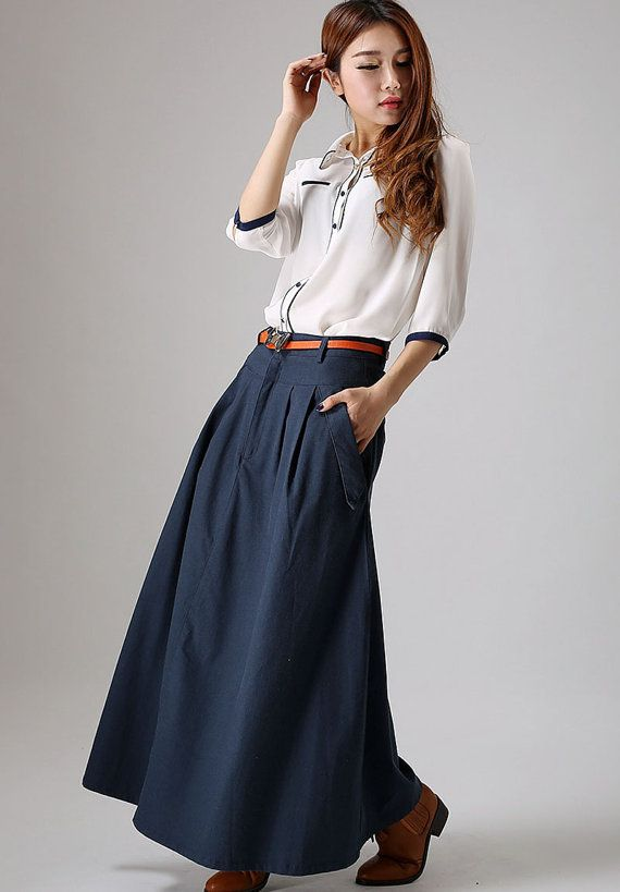 Casual Linen skirt women maxi skirt Custom made long pleated skirt in blue  (871)